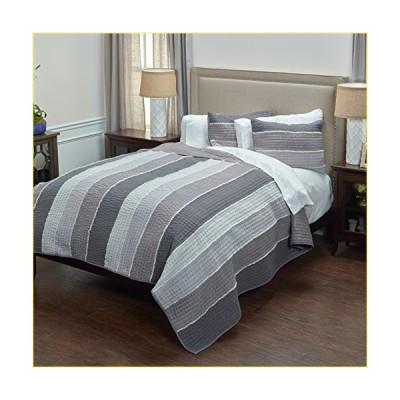 "Rizzy Home BQ4195 Quilt, 70""X86"", Gray/White/Nuetral【並行輸入品】"