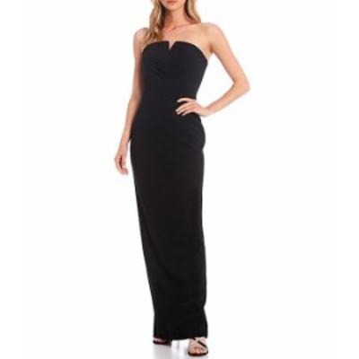 カルバンクライン レディース ワンピース トップス Strapless Split Neck Pleated Gown Black