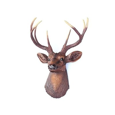 Stags Head Wall Mount,Artificial Deer Head Wall Decor with Antlers,Faux Tax 並行輸入品