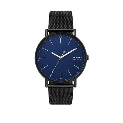スカーゲン メンズ 腕時計 アクセサリー Signatur Black Steel Mesh Watch