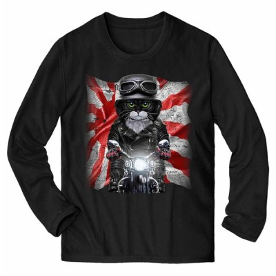 【タキシードキャット ねこ バイク 日本 日の丸】メンズ 長袖 Tシャツ by Fox Republic