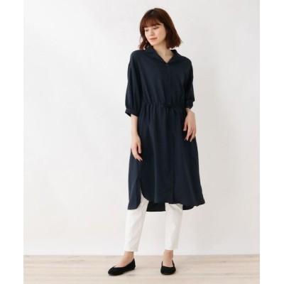 SHOO・LA・RUE/シューラルー オープンカラー七分袖シャツワンピース ネイビー(093) 02(M)