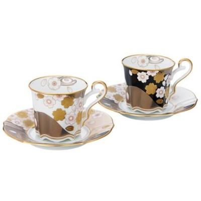 コーヒー碗皿 ペアセット あやみなも 200cc ノリタケ (P52506/4939-10)  キッチン、台所用品