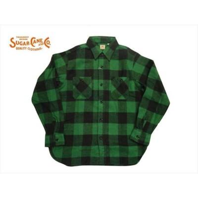 シュガーケーン SUGAR CANE 長袖シャツ SC28503 ツイル ブロックチェック長袖ワークシャツ/ネルシャツ グリーン