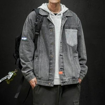 ジャケット メンズ デニムジャケット アウター ヴィンテージ加工 折り襟 春 秋 ワークジャケット ボタン カジュアル シンプル ブラック ブルー