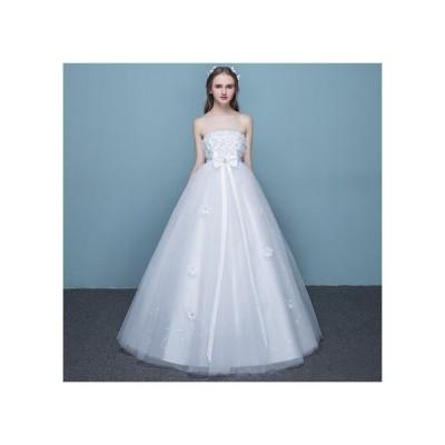 ウェディングドレス 二次会 花嫁ドレス 結婚式 ドレス パーティードレス Aライン 大きいサイズ xl 2xl プリンセス ベアトップ チューブトップ リボン レース か