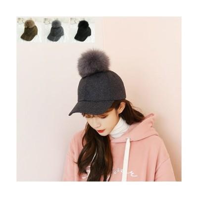 キャップ レディース デザイン カジュアル 基本アイテム 帽子 hat かわいい ベーシック 無地 男女兼用◎(T)485-MHフォックスメルトンウールボールキャップ