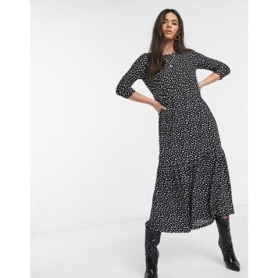 リバーアイランド River Island レディース ワンピース ミドル丈 ワンピース・ドレス long sleeve printed midi smock dress in black