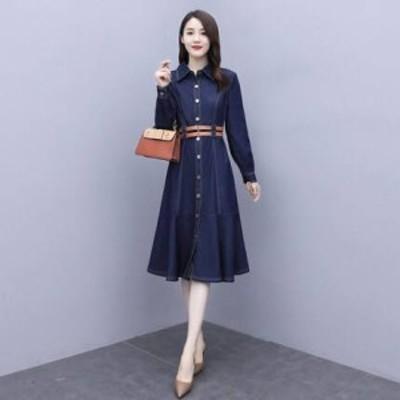 ドレス ワンピース デニムワンピース 大きいサイズ レギュラーカラー デニム ひざ丈 ワンピ レディース