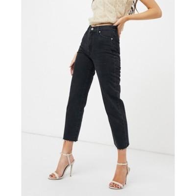 リバーアイランド レディース デニムパンツ ボトムス River Island straight leg jeans in washed black