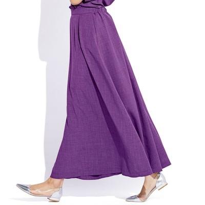 ベルーナ 麻調合繊さらさらスカート ネイビー L レディース