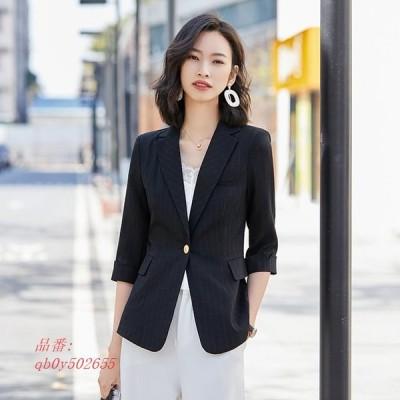 ブラック チェック柄 テーラードジャケット レディース 7分袖 夏 白 ピンク OL 通勤 スーツジャケット 大きいサイズ オフィス サマージャケット