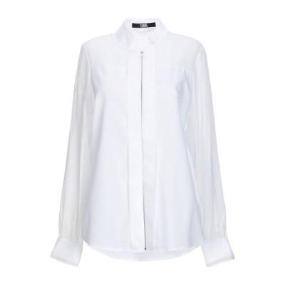 KARL LAGERFELD 無地シャツ&ブラウス  レディースファッション  トップス  シャツ、ブラウス  長袖 ホワイト