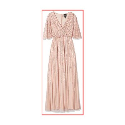 【新品】Adrianna Papell Women's Sequin V Neck Dress, Blush, 16【並行輸入品】