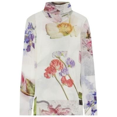 ガニー GANNI レディース トップス floral-print stretch-mesh turtleneck top Ivory
