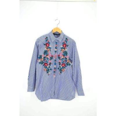 ザラ ウーマン ZARA WOMAN 花刺繍ストライプシャツ レディース S 中古 210326