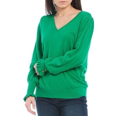 ラルフローレン レディース ニット&セーター アウター V-Neck Buttoned-Cuff Long Sleeve Cotton-Blend Sweater Vivid Emerald