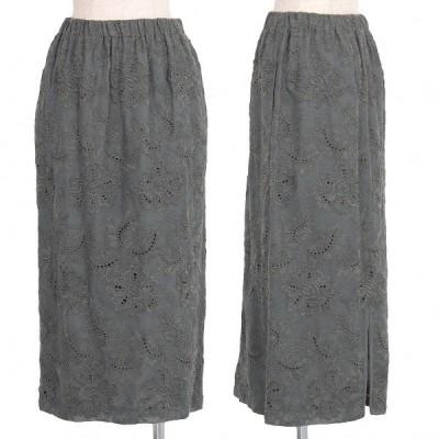 トリココムデギャルソンtricot COMME des GARCONS ジャガード刺繍スカート グレーW64-80 【レディース】