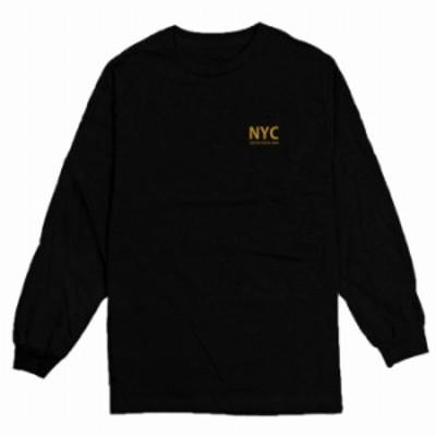 ロングTシャツ ブラック 大人 ユニセックス メンズ レディース ビッグシルエット 長袖 ロンT カジュアル シンプル ニューヨーク ロゴ か