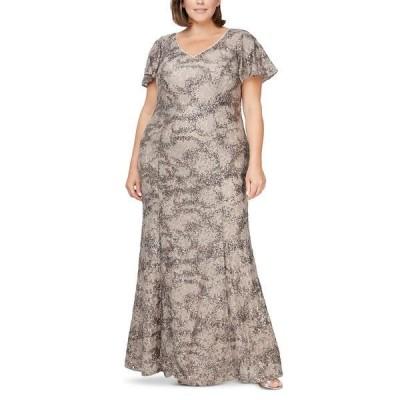 アレックスイブニングス ワンピース トップス レディース Plus Size Sequin Lace Gown Taupe