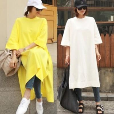 ビッグシルエット tシャツワンピース 夏服 レディース 韓国 ファッション レディース 夏ワンピ ロングワンピース イエロー 白 ワンピ 夏