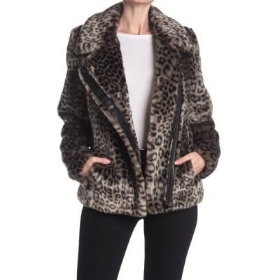 カルバンクライン レディース ジャケット&ブルゾン アウター Leopard Print Faux Fur Asymmetrical Zip Jacket CHARCOAL LEOPARD