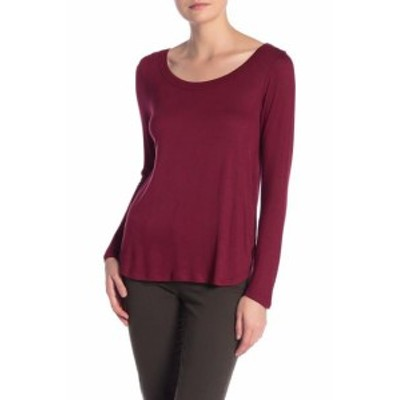 Red  ファッション トップス H By Bordeaux Womens Red Size XL Scoop-Neck Long Sleeve Knit Top