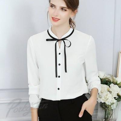 レディースシャツシフォンブラウス長袖トップスフォーマル無地大きいサイズ黒白ブラウスシャツ通勤フォーマル
