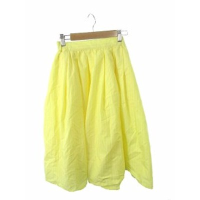 【中古】シンプリシテェ Simplicite スカート ギャザー ひざ丈 ウエストゴム ストライプ F 黄色 イエロー /TK16 レディース