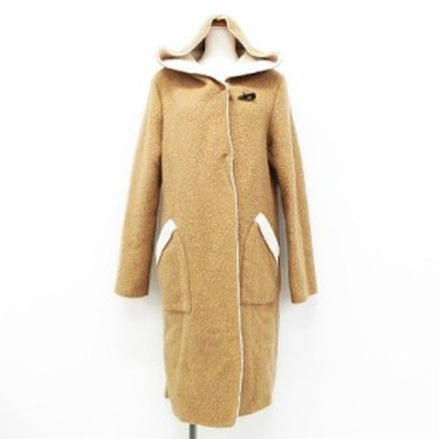 【中古】Lui Chantant コート アウター 長袖 ロング丈 フード付き 起毛 ウール混 ブラウン アイボリー 40 レディース