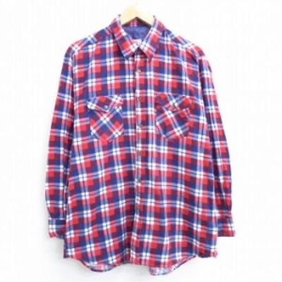 古着 長袖 フランネル シャツ 80年代 80s コットン 赤他 レッド チェック Lサイズ 中古 メンズ トップス シャツ トップス 古着