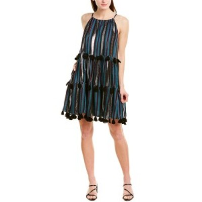 テッセラ レディース ワンピース トップス Tessora Sydni Mini Dress black & green metallic jacquard