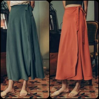 大人可愛い 秋カラーのラップスカート マキシ丈 シンプルデザイン こなれ感 秋 お出かけや女子会にも