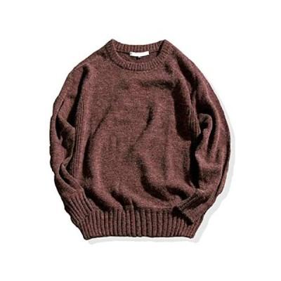 [スプリングスワロー] 肘あて付き クルーネック ニット 暖か ゆったり メンズ セーター uネック ボートネック (ブラウン L)