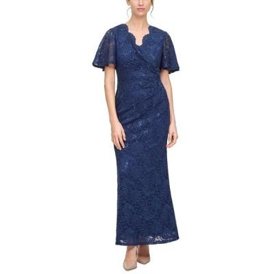 ジェシカハワード ワンピース トップス レディース Petite Butterfly-Sleeve Lace A-Line Gown Navy