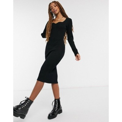 ニュールック レディース ワンピース トップス New Look sweetheart knitted dress in black Black