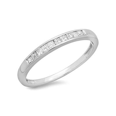 0.19カラットCTW) 10Kホワイトゴールドプリンセスカットダイヤモンドレディース結婚記念スタッカブルリングバンド