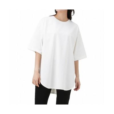 (MAC HOUSE(women)/マックハウス レディース)NAVY ネイビー オーガニックコットン ヘビーウェイトチュニックTシャツ OGCS0101/レディース ホワイト
