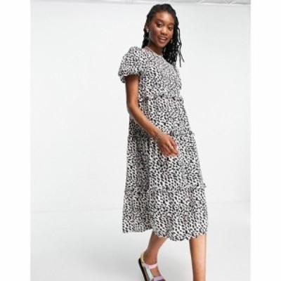 インフルエンス Influence レディース ワンピース Aライン ワンピース・ドレス tiered smock dress in animal print ブラック/ホワイト