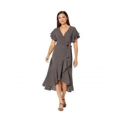 MAXSTUDIO レディース 女性用 ファッション ドレス Short Sleeve Woven Wrap Dress - Black/Red