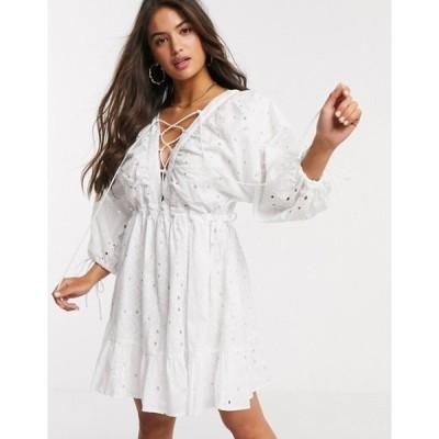 エイソス レディース ワンピース トップス ASOS DESIGN broderie lace up mini dress in white