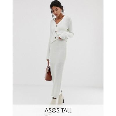 エイソス ASOS Tall レディース ひざ丈スカート スカート ASOS DESIGN Tall co-ord chunky midi skirt in eco yarn Off white