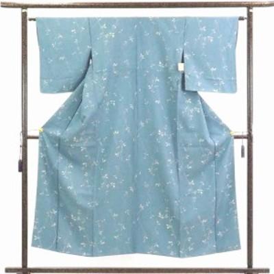 【中古】リサイクル着物 小紋 / 正絹ブルー地袷小紋着物 / レディース【裄Mサイズ】