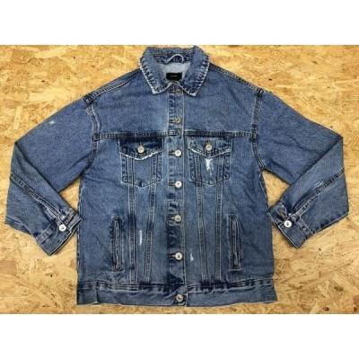 BERSHKA ベルシュカ XXSサイズ レディース デニムジャケット 薄手 両胸ポケット ウエストポケット USED加工 長袖 ライトブルー 薄青