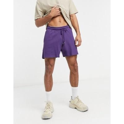 エイソス メンズ ハーフパンツ・ショーツ ボトムス ASOS DESIGN oversized shorts in deep purple waffle