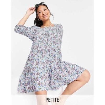 ヴァイオレット ロマンス Violet Romance Petite レディース ワンピース ワンピース・ドレス smock dress with tie up back in floral print マルチカラー