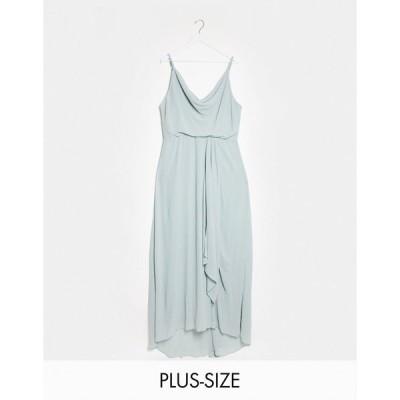 ティーエフエヌシー ドレス 大きいサイズ レディース TFNC Plus bridesmaid cowl neck cami strap maxi dress with train in sage エイソス ASOS