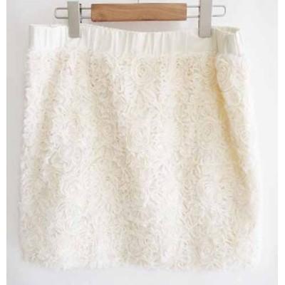 【中古】ストロベリーフィールズ STRAWBERRY-FIELDS 台形 スカート フレアスカート 花柄 ウエストゴム 白 レディース