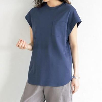 ロングプルオーバー(綿100%・洗濯機OK)/グレイッシュブルー/M