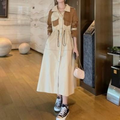 大きいサイズのレディース 新作女性ファッション ワンピース バイカラーワンピ バイカラー ワンピース フレアワンピース 開襟 ミモレ丈